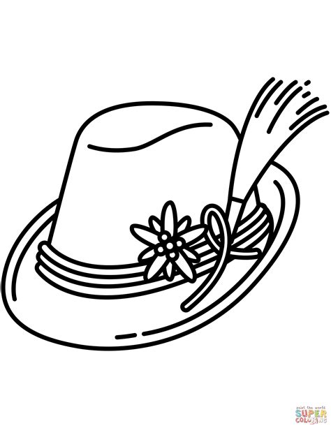 bavarian hat coloring page  printable coloring pages