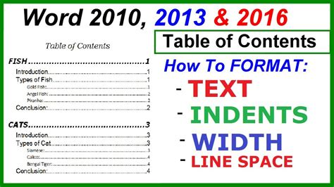 microsoft word table of contents word 2016 2013 2010 table of contents format t