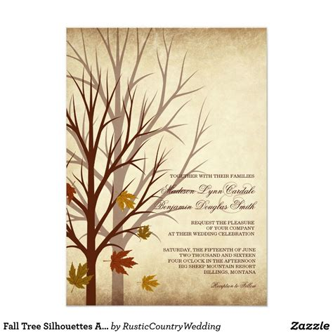 Fall Tree Silhouettes Autumn Wedding Invitations Zazzle