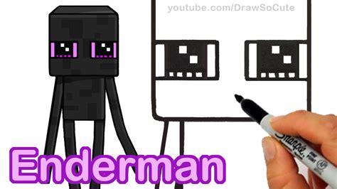 draw minecraft enderman cute step  step easy
