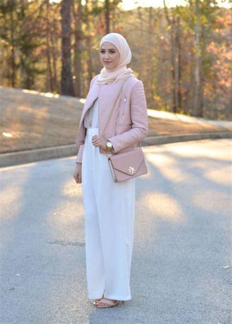 white palazzo pant hijab outfit street fashion