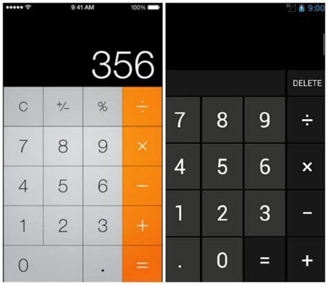 android calculator ios 7 vs android