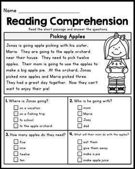free grade reading comprehension passages set 1