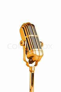 Vintage microphone isolated on the white background ...