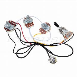 Electric Guitar Wiring Harness 2 Volume 1 Tone 500k 3 Way Toggle Switch Chrome