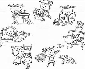 Little Girls Daily Activities Black And White Outline Stock Illustration