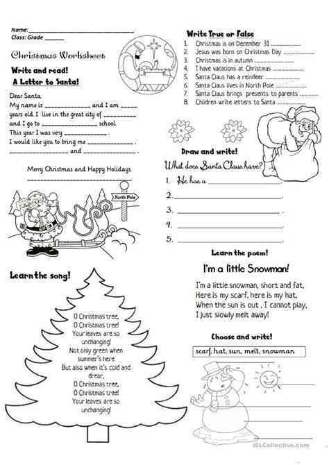 christmas activities worksheet free esl printable