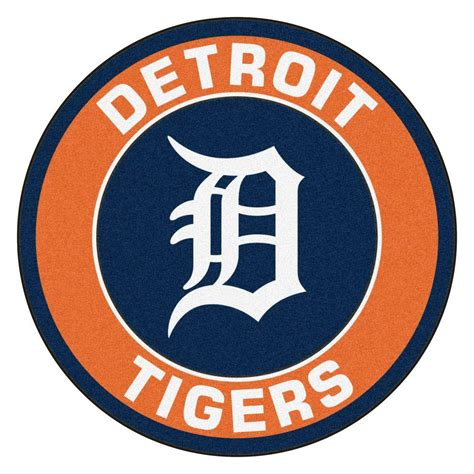 fanmats mlb detroit tigers orange 2 ft 3 in x 2 ft 3 in round accent rug 18135 the home depot