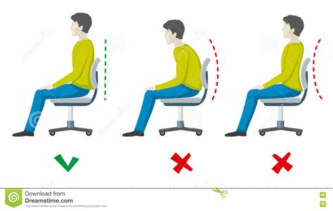 posture bureau and right spine sitting posture vector office