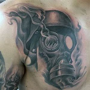 Black and gray style chest tattoo of broken gas mask ...