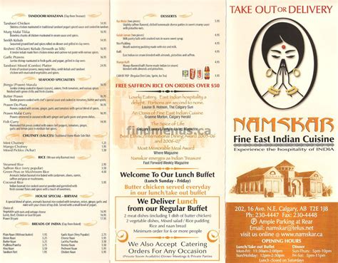 indian cuisine menu namskar east indian cuisine calgary find menus ca