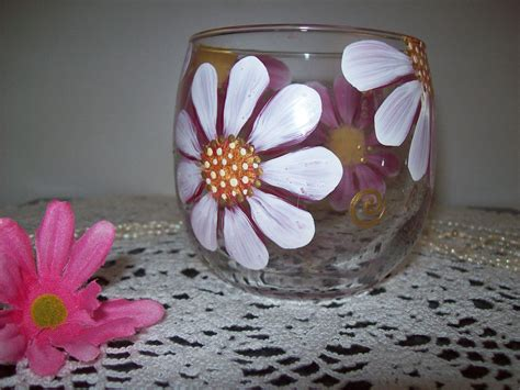 whimsical daisy design hand painted glass votive   etsy glass votive hand painted