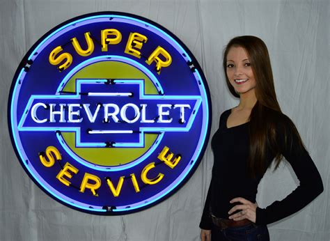 Chevrolet Neon Sign by Chevrolet Service 36 Inch Neon Sign