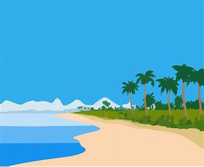 Beach Cartoon Cliparts Clipart Clip Landscape Svg