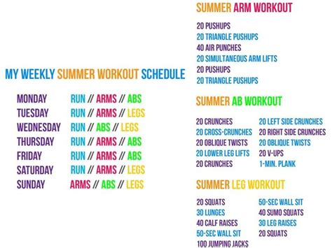 weekly summer workout schedule ealth itness
