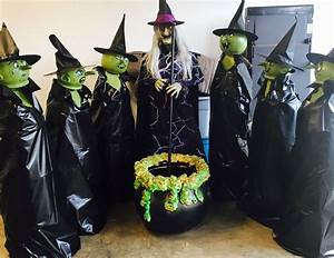 Halloween, Outdoor, Witch, Decor, Diy, Tomato, Cages, Black, Tarp, Plastic, Pumpkin, Spray, Painted, Green