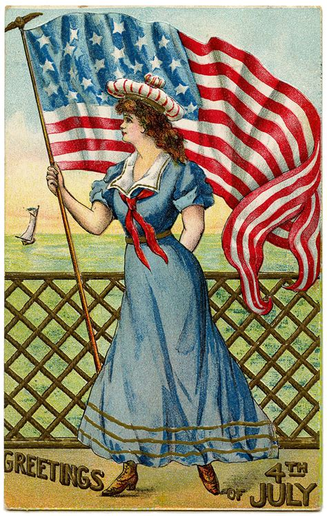 Vintage Patriotic Image  4th Of July  Sailor Girl The