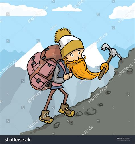 Climber Huge Backpack Climbing Mountain Cartoon Stock