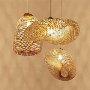 Bamboo, Wooden, Pendant, Light, Ac90-260v, E27, 3, Sizes