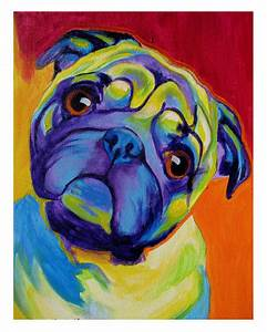 Colorful Pet Portrait Pug Dog Art Print DawgArt by dawgpainter