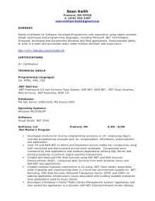 asp mvc developer resume resume exles net developer 171 foures