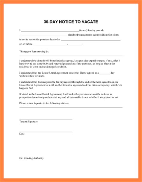 30 day notice letter 9 30 day notice to vacate letter template notice letter 20093 | 30 day notice to vacate letter template 100101326
