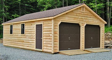 Traditional Outdoor Design With 2 Car Prefab Wooden Garage