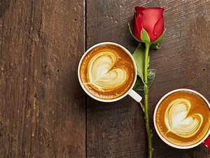 Red, Rose, Coffee, And, Love, For, Two, Hearts, Wallpaper, Hd