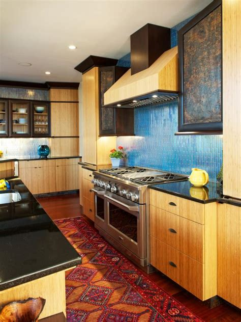 how to lay tile in a kitchen contemporary kitchen with blue tile backsplash hgtv 9472