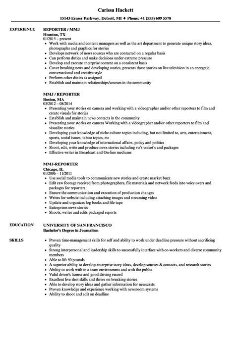Reporter Resume by Reporter Mmj Resume Sles Velvet