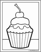 Cupcake Coloring Birthday Pages Printable Cherry Cake Cupcakes Printables Pdf Topping Thank Fuzzy Happy Strawberry Colorwithfuzzy Another sketch template
