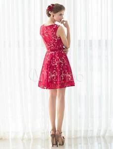Kleider Für Hochzeitsgäste Kurz : cocktailkleid rot kurz ballkleid a linie rmellose homecoming spitzenkleid kleider f r ~ Orissabook.com Haus und Dekorationen