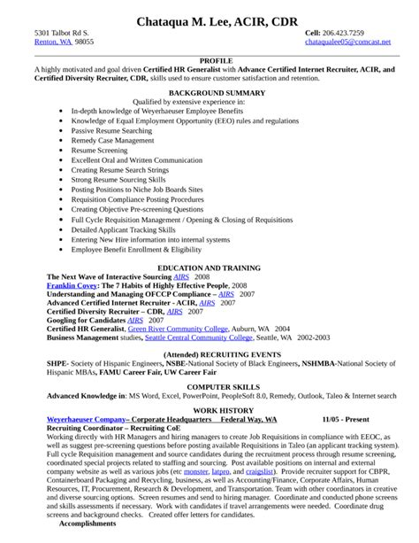 Hr Recruiter Resume With No Experience by Combination Recruiting Coordinator Resume Template