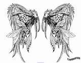 Tatouage Aile Ailes Tatouages Tattoo Warrior Coloring Elf Ange Croix sketch template
