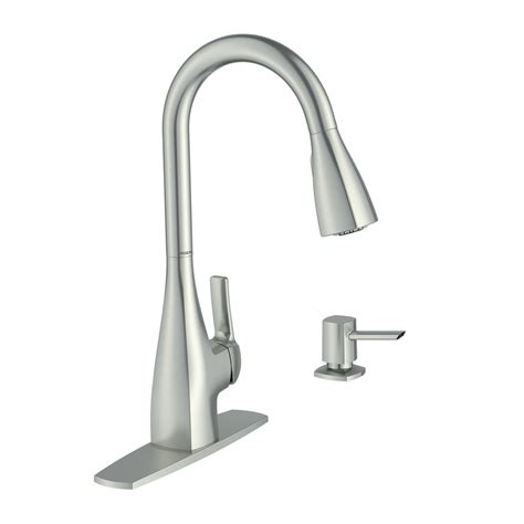 moen pull kitchen faucet shop moen kiran spot resist stainless 1 handle pull