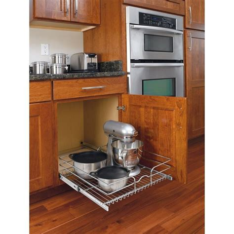 kitchen cabinet dish organizers pull out wire basket base cabinet chrome kitchen storage