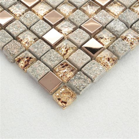 Clear Glass and Stone Mosaic Rose Gold Stainless Steel