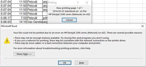 excel print error   memory
