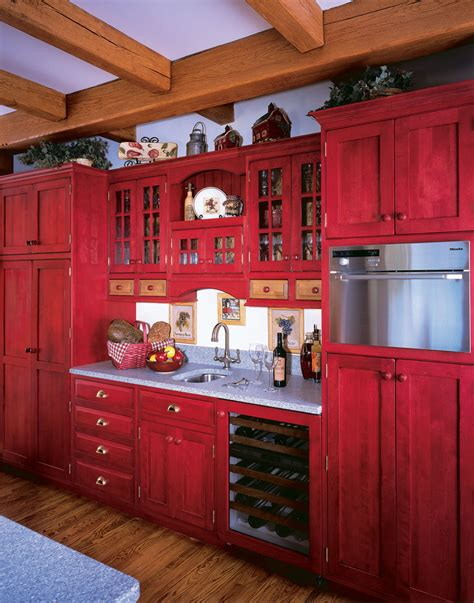 Paint Ideas For Open Living Room And Kitchen - red painted kitchen cabinets kitchen farmhouse with drawer pulls exposed beams beeyoutifullife com