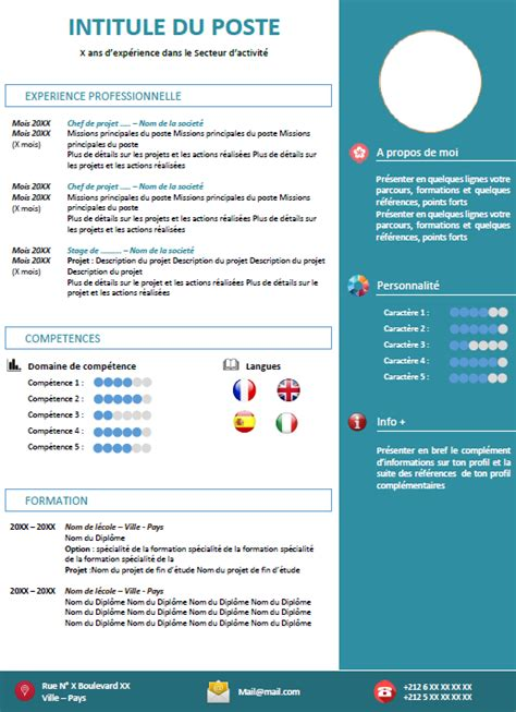 Exemple Cv Format Word by Exemple Cv Professionnel Gratuit Format Word مدونة