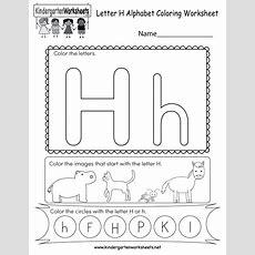 Letter H Coloring Worksheet  Free Kindergarten English Worksheet For Kids