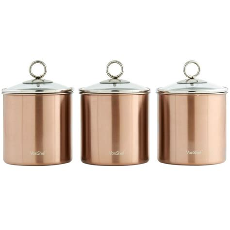 Coffee Kitchen Canisters by Vonshef Set Of 3 Copper Tea Coffee Sugar Canisters Kitchen