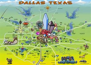 Dallas Texas Cartoon Map Painting by Kevin Middleton