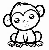 Coloring Monkey Pages Cartoon Cute Baby Animal Easy Printable Visit Monkeys Colouring Sheets sketch template