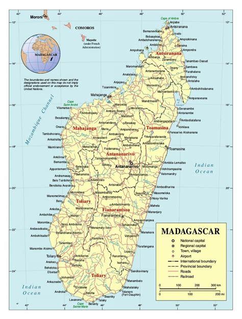 map madagascar detailed map  madagascar eastern