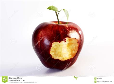 Bite out of apple stock photo. Image of fresh, leaf ...
