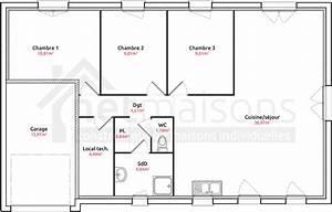 Plan Maison Pas Cher : plan de maison plain pied 3 chambres avec garage wn29 jornalagora ~ Melissatoandfro.com Idées de Décoration