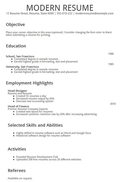 Resume Builder Modern  Resume Template
