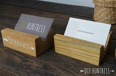 Business card mockups should all be this easy to use. DIY Wooden Business Card Holder - DIY Huntress