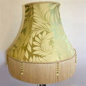 Tassel Lamp Shade by Green Foliage Pattern Lampshade With Cream Tassels Ten